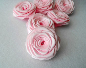 6 handmade roses satin ribbon flowers in light pink, pale pink