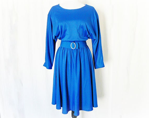 Vintage 70s Dress L XL Blue Dolman Sleeve Belted Disco