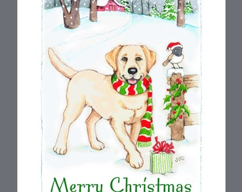 Yellow Labrador Retriever Dog Christmas Cards Box of 16 Cards and Envelopes