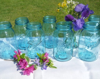 8 Vintage Blue Ball Perfect Mason quart canning jars -wedding vases-crafts-storage