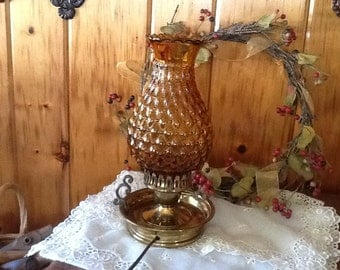 Brass Lamp Fenton Amber Glass Chimney Shade Beautiful Vintage Home Decor