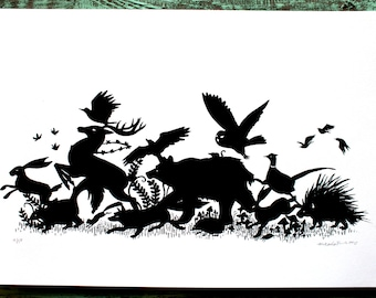 GREEN VERSION Woodland Animal Silhouette Screen Print
