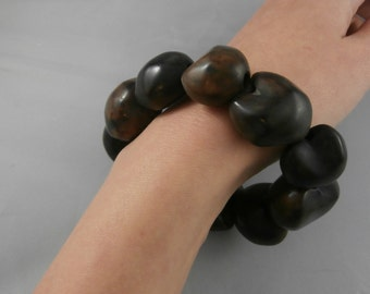 Chunky Brown Leopard Print Stretch Bracelet