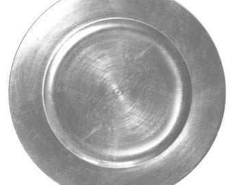 Set of 4 Silver Charger Plates