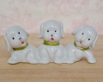 Vintage Ceramic Puppy Dog Trio Figurine