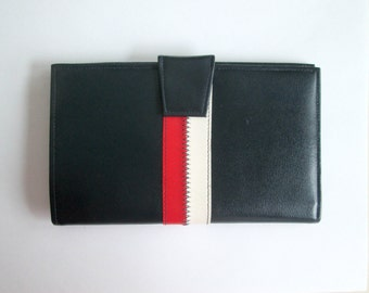 Vintage Large Leather Wallet Red White Blue Large Bifold St. Thomas Cowhide