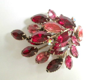 Mid  Century Rhinestone Brooch Red and Pink Marquis Vintage Mid Century Beau Jewels Pin Jewelry Accessory