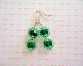 Green Beads Earrings, Green Earrings, Bead Earrings
