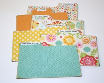 Recipe Divider Cards, Set of 6, Teal Yellow Orange Tabs, Summer Dividers, 4x6 Recipe Divider Cards, Made of Hard Laminate