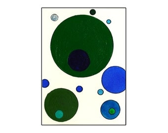 Original ACEO Mixed Media Painting Inspired by Tori Amos - Blue, Green & Silver Circles