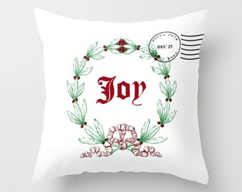 Throw Pillow Cover - Joy Christmas Wreath Xmas Stamp - White Red Green - 16x16, 18x18, 20x20 - Original Design Home Décor by Adidit