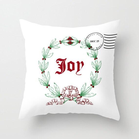 Throw Pillow Cover Joy Christmas Wreath Xmas Stamp White