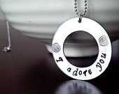 Personalized Washer Necklace, I love you Necklace, Hand Stamped,  Sterling silver, Custom made, Stamped, Monogram, Engraved, Silver necklace