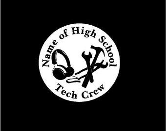 Tech Crew Personalized Black/White Vinyl Decal