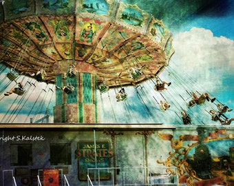 Vintage Circus Photograph Vintage Swing Ride, Strates Carnival Wall Decor 8x12