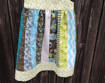 Size 2 Pieced Sundress in Teals, Greens, Browns with Hair Clip