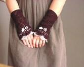 Plum Grey Victorian lace mittens
