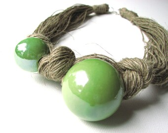 Ceramic Green- linen necklace