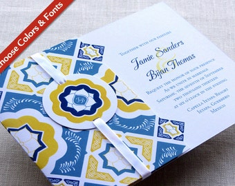 Mexican Tile Wedding Invitation - Talavera Monogram Flap Fold with Enclosures Booklet - Custom Colors