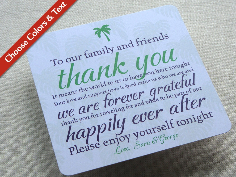 Thank You Gifts For Destination Wedding Guests : Palm Tree Wedding Reception Thank You Card Destination