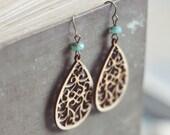 wooden filigree teardrop earrings.