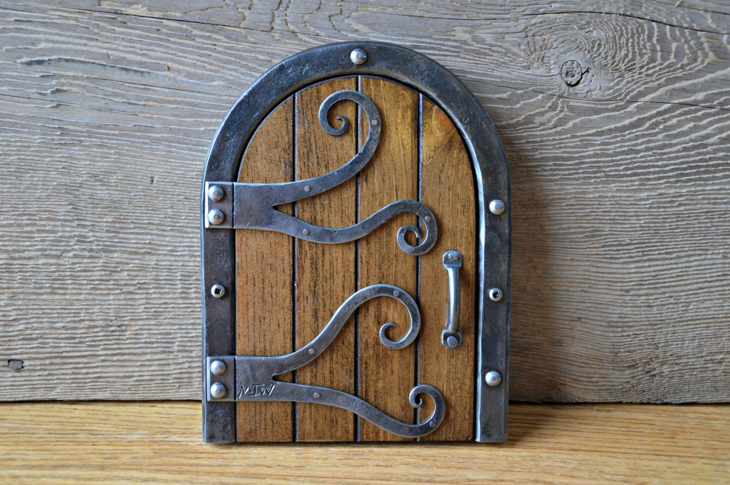 Hand forged fairy or elf door decoration for Elf door decoration