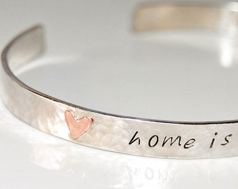 Personalized silver cuff with copper hearts, engraved quote both sides, customized bracelet, hidden message cuff, silver message bracelet