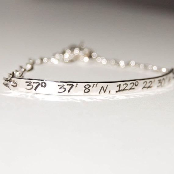 Sterling Silver GPS coordinate bracelet - delicate and slim, coordinate bracelet, silver gps bracelet, silver coordinates bracelet