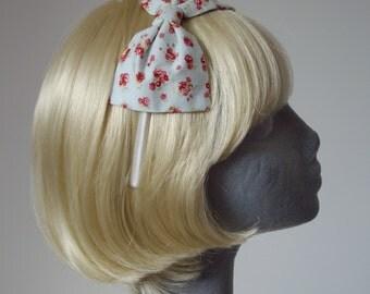 Blue Headband, Blue Bow Headband, Pale Blue-Pink Ditsy Rose Floral Bow Headband, Blue Bow Aliceband, Blue Hair Bow, Blue Hair Accessories
