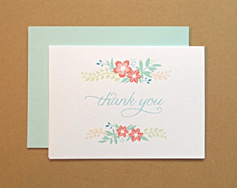 Thank You Cards / Bridal Shower Thank You Cards, Vintage Wildflowers, 10-Count
