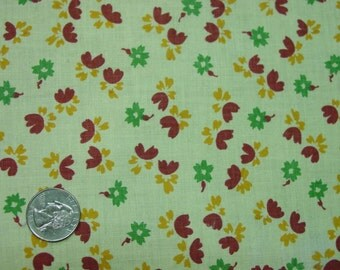 Vintage Feedsack Fabric, Small Print on Yellow, 18 x 19""