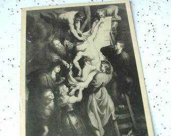 Antique 1930's Easter art, Religious art postcard, Antwerp Belgium, Peter Paul Rubens, Jesus The Crucifixion, Catholic art collectible