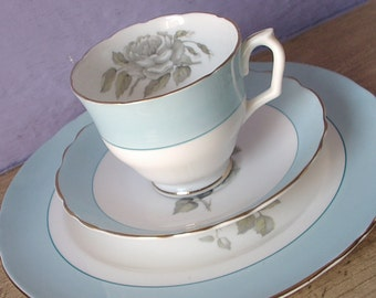 Vintage Crown Staffordshire grey rose tea cup trio, English tea cup saucer and plate set, powder blue and white tea cup, bone china teacup