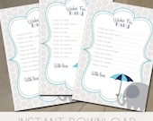Wishes for baby, printable baby shower games. navy blue and gray baby shower, elephant baby shower INSTANT DOWNLOAD