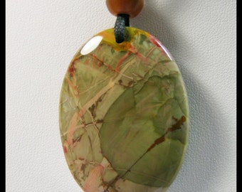 Large Untreated Oval Carrasite Jasper Pendant