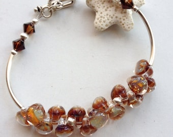 Handmade lampwork jewelry boro glass and sterling silver bracelet
