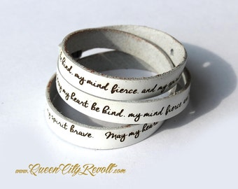 Personalized Leather Wrap Bracelet, White Leather, Custom Script Text, Adjustable