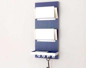 MAIL ORGANIZER: Urban Chic Wall Organizer with Shelf and Key Hooks, Modern Entry Home Office Organizational Solutions