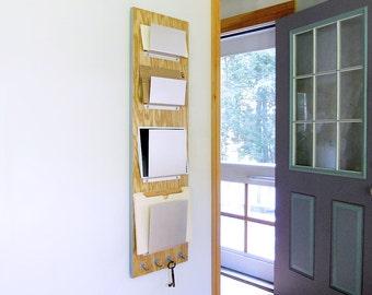 Decorative Wall File Organizer file organizer: wall mount with key hooks modern metal slots