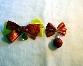 Ribbon Bow Christmas Pin, bell or ornament
