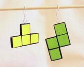 Tetris earrings - green and yellow