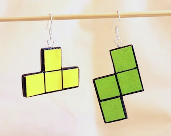 Tetris earrings - green and yellow