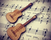 Wood Music Acoustic Guitar Earrings