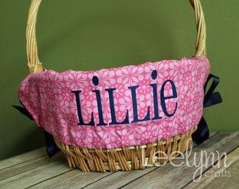 Personalized Easter Basket Liner - Pink Medallion - Personalized with Name - Custom Basket Liner