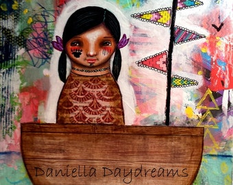 Whimsical Primitive Tribal Folk Art Girl - He Is My Strength - Original Mixed Media Painting on Canvas