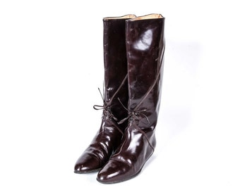 1980's style Flat Heeled Boots Women's Size 9