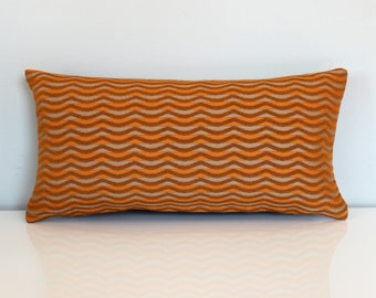 Lumbar Pillow Cover Orange Beige Wavy Stripe Upholstery Decorative Accent Oblong Throw Pillow Cover 12x24 12x21 12x18 12x16 10x20