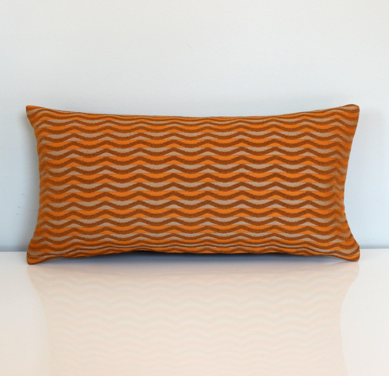 Lumbar Pillow Cover Orange Beige Wavy Stripe Upholstery