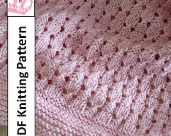Baby Blanket Knitting Pattern, PDF Knitting Pattern - Basketweave Baby Blanket/throw/afghan 28 x 36