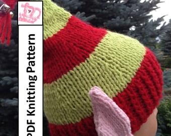 PDF KNITTING PATTERN, hat knitting pattern,  Elf Ears Jingle Bells Hat